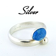 Sterling Silver & Turquoise Cabochon Ring Size 7.5