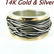 Modernist 14 Kt Gold & Sterling Silver Ring Size 8