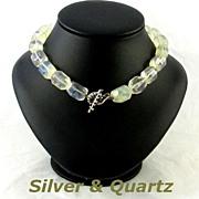 Vintage Sterling Silver Toggle Quartz Beads Choker Necklace