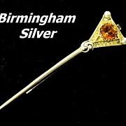 Vintage Vermeil Sterling Silver Birmingham Tie Bar Clasp