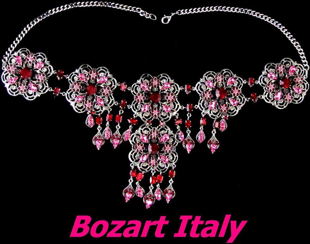 Huge Dazzling Bozart Italy Rhinestone Bib Necklace