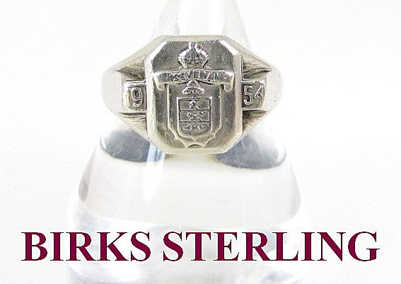 Birks Sterling Silver Ring 1954 Size 9.5