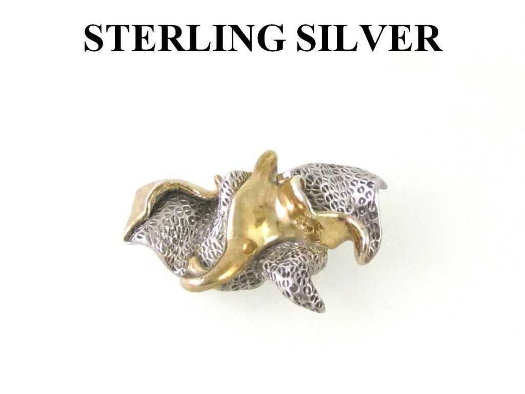 Huge Modernist Sterling Silver Brooch Pendant