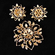 Lovely Demi Parure by Sarah Cov. Gold-Tone Filigree