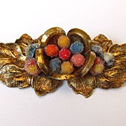 Victorian Gold Tone Floral Brooch Pin with C Clasp