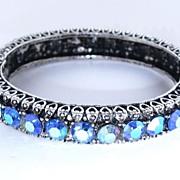 Gorgeous Hinged Bracelet with Blue AB