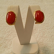 SALE 18K Dark Sardinian Red Coral Cabochon Post Omega Clip Earrings - 7.9 grams