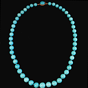 SALE Divine 18K Sleeping Beauty Turquoise 9.4-13mm Bead Necklace - 337.26cts