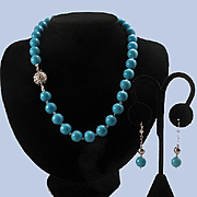 Gorgeous 14K White Gold Persian Turquoise 11mm Bead Necklace & Earrings - 76.1 grams
