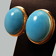 SALE Spectacular 18K Sleeping Beauty Turquoise Cabochon Earrings Pierced Omega Clips 12.6 grams