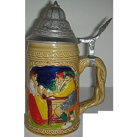 Ceramic German metal lidded stein w/  drinkers
