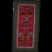 Oriental life portrayal silk embroidered cloth