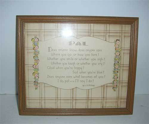 "Buzza motto ""Pal"" poem framed picture"