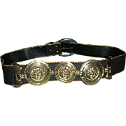 Black gold belt with Concho trim