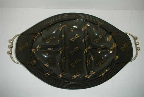 Firefly Brown relish dish with stand