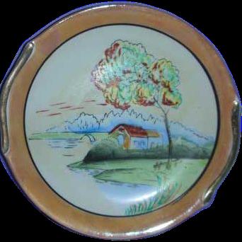 Scenic  Japan Lustre porcelain painted plate