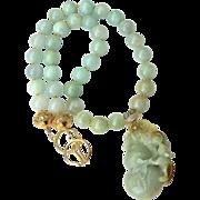 Carved Green Jade Dragon, Jade Necklace