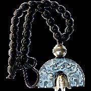 Chinese Black Jade Dragon, Antique Silver Cicada, Black Horn Necklace