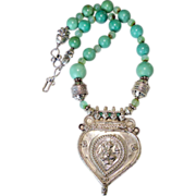 Antique Indian Silver Amulet Hanuman Pendant, Chinese Turquoise Necklace