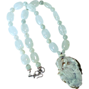 Carved Jade Dragon and Gourd, Aquamarine Necklace