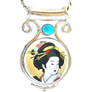 Vintage Japanese Porcelain Lady and Silver Chain Pendant Necklace