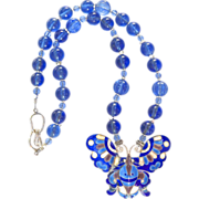 Vintage Chinese Enameled Butterfly, Vintage Blue Peking Glass Necklace