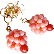Pink Coral Cluster Drop Earrings