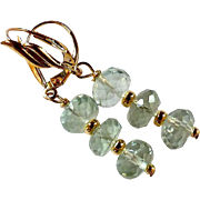 Faceted Green Amethyst Drop Earrings