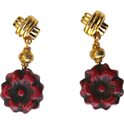 Antiqued Red Cinnabar Flower Drop Earrings