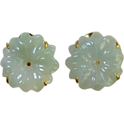 Carved Green Jade Flower Button Earrings