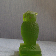 "Green Glass Owl 6"""
