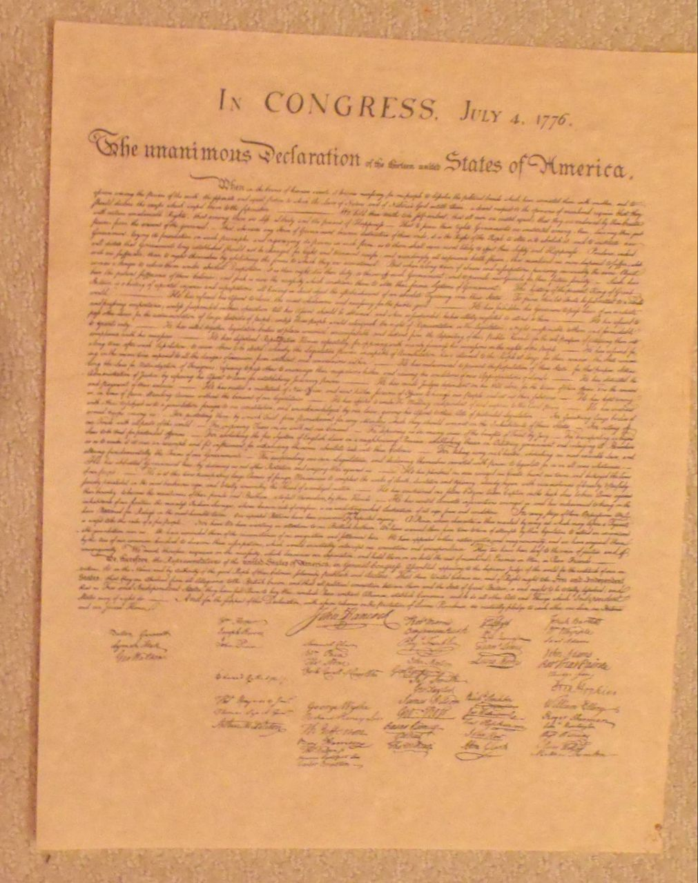 Declaration of  the Thirteen States of America-History-Congress-Bi-Centennial-Parchment Art