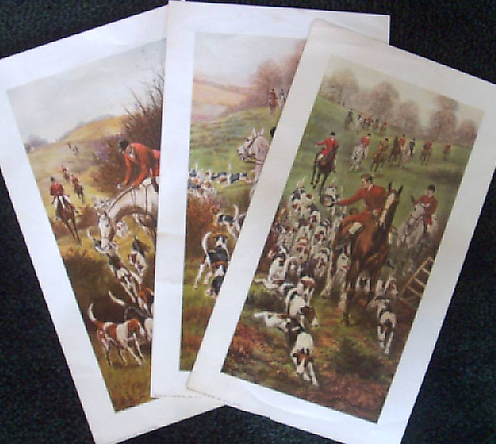 Hound and Horse Hunting Lithographs