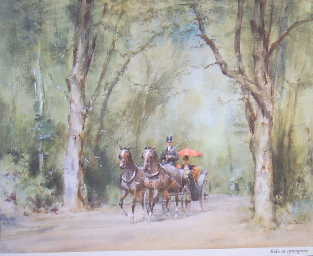"Wolfgang Tritt Vintage Watercolor ""A Ride in Springtime"""