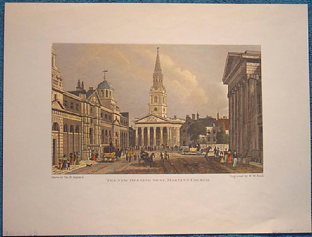 "Vintage Engraving ""The New Opening to St. Martin's Church""."