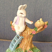 Rabbit Feeding Birds Porcelain Figuerine
