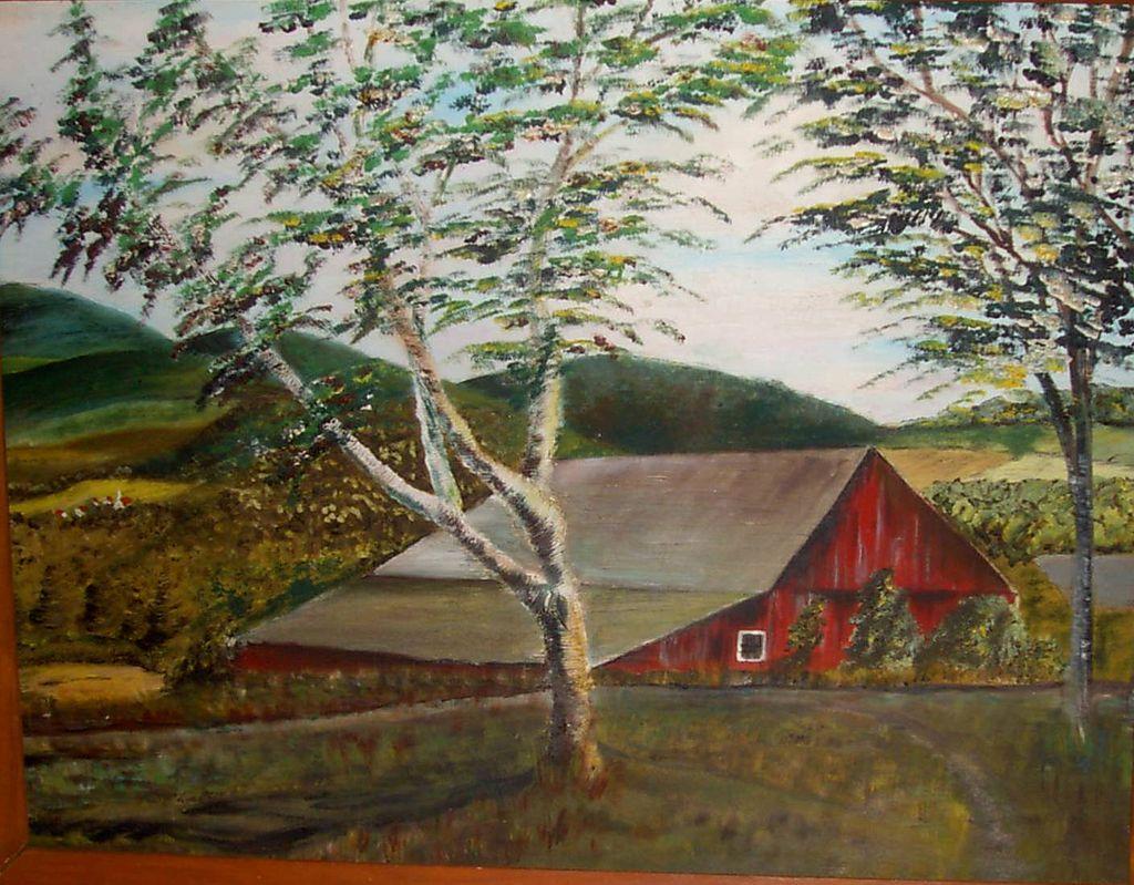 Oil Painting Red Barn Vintage Art