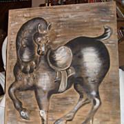 Original Oil Painting Horse on Beige Linen