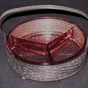 Pink Divided Dish in a White Metal Basket
