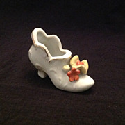 Lovely bisque shoe with applied flowers