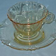 Heisey Empress Sahara Yellow Cup and Saucer