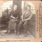 Set of Three Keystone Stereo View Cards Dutch Courtship