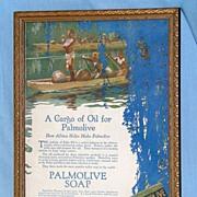 Vintage Framed Advertising Palmolive Soap World War ll Era