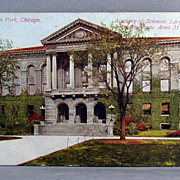 1912 Chromolithograph Postcard Academy of Sciences, Lincoln Park, Chicago