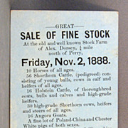 Notice of Livestock Sale Alex Dorsey & Sons, 1888