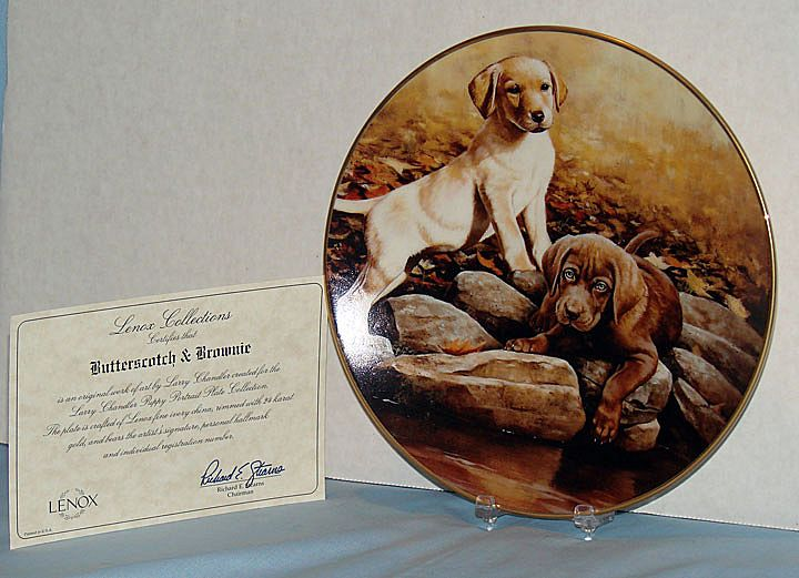 """""""Butterscotch and Brownie"""" Larry Chandler Puppy Portrait Collection by Lenox Labrador Retrievers"""