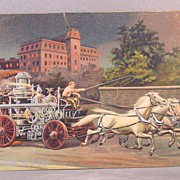 Engine going to a fire with horse drawn fire engine  Fire Dep't Series P1400