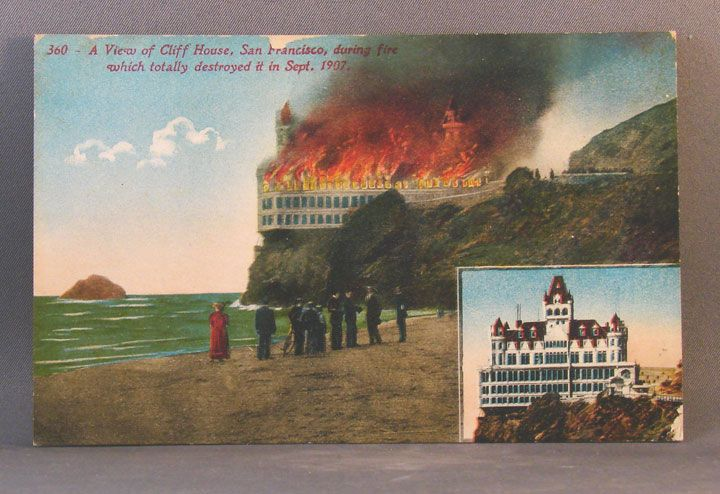 Unused postcard of Cliff House before and after fire in September, 1907
