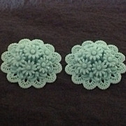 Lovely blue carved celluloid floral clip earrings