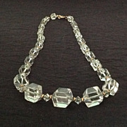 Squared clear glass bead necklace